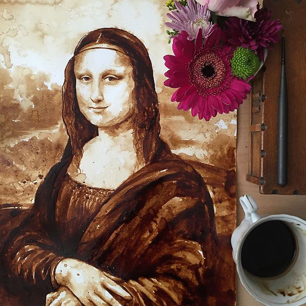 Niesamowita artystka maluje Mona Lisę... kawą!