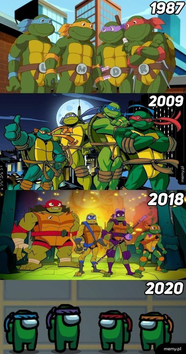 Wojownicze żółwie przez lata
