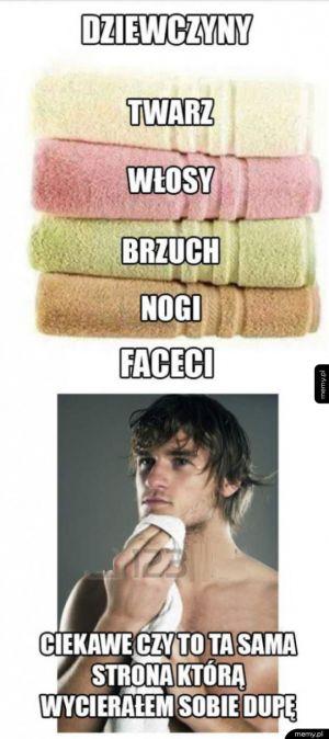 Używanie ręcznika kobieta vs facet