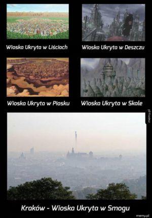 Wioska ukryta w smogu