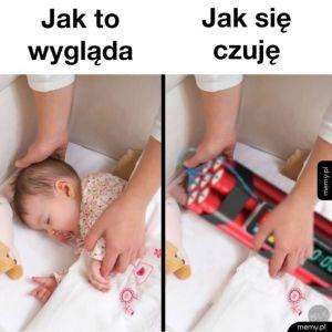 Odkładanie śpiącego dziecka
