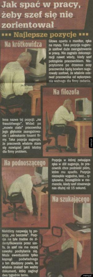 Jak spać w pracy