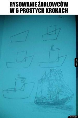 Jak narysować żaglowiec