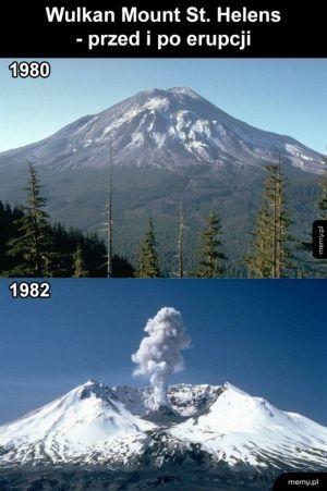 Wulkan przed i po erupcji
