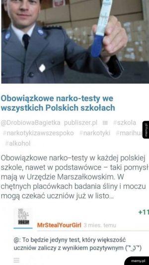 Obowiązkowe narko-testy we wszystkich polskich szkołach