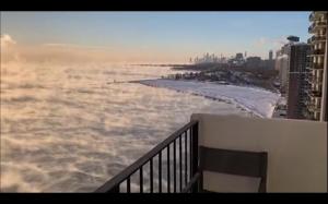 Jezioro Michigan podczas wiru polarnego