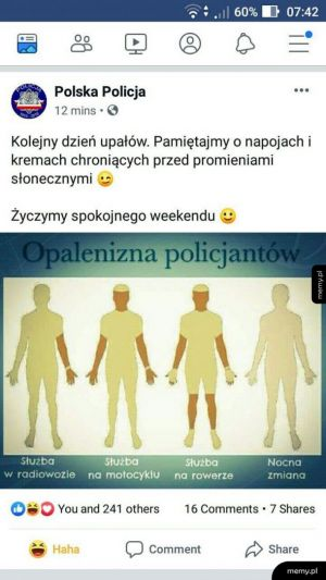 Opalenizna policjantów