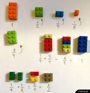 Nauka liczenia ułamków - wersja dla młodszych
