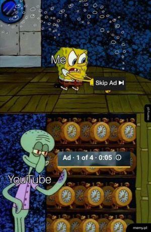 Nie mam nic przeciwko oglądaniu JEDNEJ reklamy, kiedy mogę ją pominąć po 5 sekundach lub jeśli jest krótsza niż 10 sekund, ale myślę, że YouTube naprawdę przekracza granice.