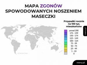 Mapa zgonów od maseczki