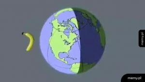 Symulacja banana orbitującego wokół Ziemi
