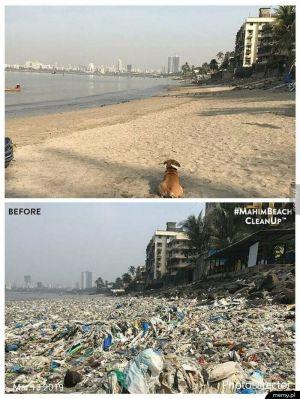 Plaża w Indiach przed i po wysprzątaniu