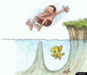 Zawsze sprawdzaj głębokość wody przed skokiem