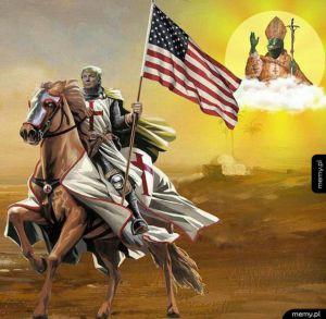 Trumpeł - Donald Trump konno wyrusza na krucjatę papież Pepe mu błogosławi